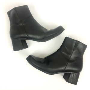 Predictions Leather Side Zip Heeled Ankle Boots
